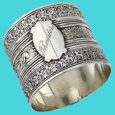 Japanesque Ornate Napkin Ring Coin Silver 1875 Mono Theodore