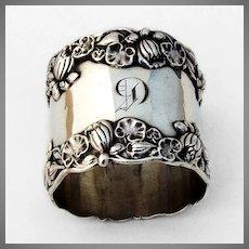 Gorham Pond Lily Large Napkin Ring Sterling Silver 1900 Mono G
