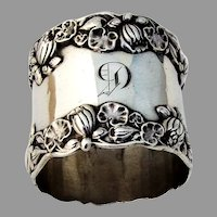 Gorham Pond Lily Large Napkin Ring Sterling Silver 1900 Mono G