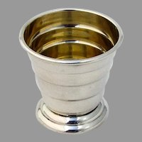 Ribbed Footed Shot Cup Gilt Interior Thomae Sterling Silver 1930