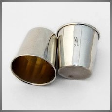 Webster Shot Cups Pair Sterling Silver Mono A