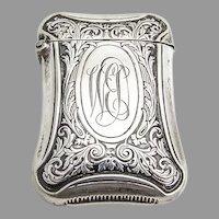 Foliate Match Safe Webster Sterling Silver Mono WED