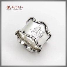 Gorham Napkin Ring Applied Scroll Border Sterling Silver Mono AAVO