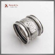 Bright Cut Foliate Napkin Ring Gorham Sterling Silver 1881 Henry