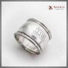 Gorham Massive Napkin Ring Applied Rims Sterling Silver Mono TTW