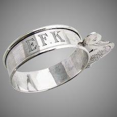 Figural Duck Napkin Ring Webster Sterling Silver Mono EFK