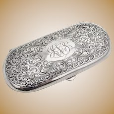 Engraved Chased Eyeglass Case Watrous Sterling Silver 1900 Mono JDS