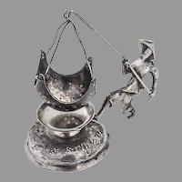 Figural Tea Strainer Underplate Set Vietnam 900 Silver 1960s
