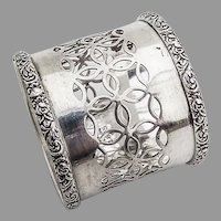 Gorham Large Cutwork Napkin Ring Floral Rims Sterling Silver 1896