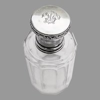 French Cologne Bottle Victor Lauer 950 Sterling Silver Cut Glass Mono LM