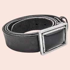 Navajo Style Sterling Silver Onyx Buckle Leather Belt