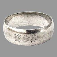 Gorham Plain Napkin Ring Heavyweight Sterling Silver Mono ESS