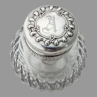 Floral Gadroon Inkwell Dresser Bottle Cut Glass Sterling Silver Mono A