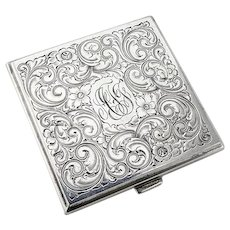 Engraved Square Form Compact Blackinton Sterling Silver AFT