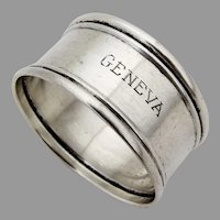 Webster Napkin Ring Applied Rims Sterling Silver Mono Geneva
