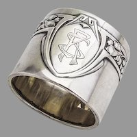 Art Deco German Napkin Ring Jacob Grimminger 800 Silver Mono RS