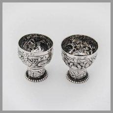 Hanau Repousse Shot Cups Pair Beaded Bases 800 Standard Silver