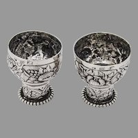 Hanau Repousse Shot Cups Pair Beaded Bases 800 Standard Silver