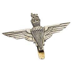 Parachute Regiment Figural Napkin Clip Silverplate 1940