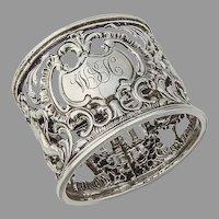 English Cutwork Cupid Napkin Ring Sterling Silver 1898 Mono WSH