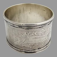 Engine Turned Napkin Ring Engraved Cartouche Coin Silver 1860 Mono