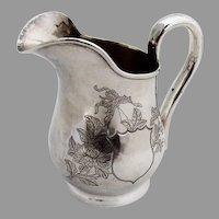 Engraved Chrysanthemum Creamer Chinese Export Silver 1840