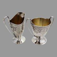 Etruscan Engraved Creamer Sugar Bowl Set Gorham Coin Silver 1865 Mono