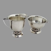 Arts And Crafts Blossom Creamer Sugar Bowl Set Sterling Silver