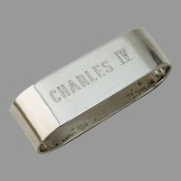 Heavy Oval Napkin Ring MOSS Sterling Silver Mono Charles IV