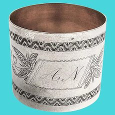 Engraved Floral Napkin Ring Gilt Interior Coin Silver Mono AN