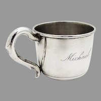 Scroll Handle Baby Childs Cup Hirsch Sterling Silver 1930 Mono Michael