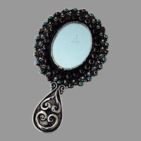 Rivera Small Oval Hand Mirror Multi Stone Insets Sterling Silver Mexico