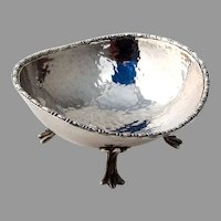 Oval Hammered Open Salt Dish Figural Feet Sterling Silver