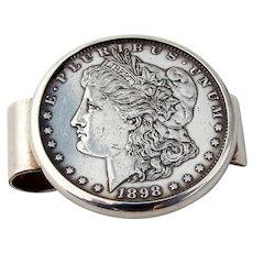 Morgan Dollar 1898 Money Clip Leonore Doskow Sterling Silver Mono