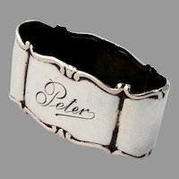 German Small Oval Napkin Ring Forster Graf 835 Silver Mono Peter