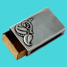 Webster Match Box Cover Foliate Accent Sterling Silver