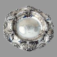 Floral Ornate Coaster Gorham Sterling Silver 1900 Mono AWC