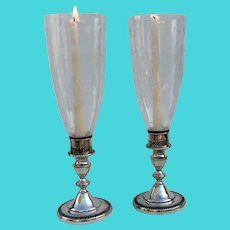 Towle Large Hurricane Lamps Pair Gadroon Bases Sterling Silver