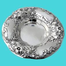 Gorham Repousse Floral Bon Bon Bowl Sterling Silver 1909 Date Mark