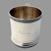 Childs Cup Applied Dart Rims Sterling Silver 1900 Mono Johnny