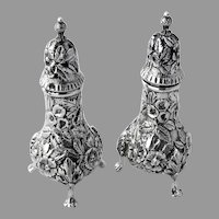 Repousse Salt Pepper Shakers Pair Kirk Son Co Sterling Silver 1910