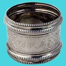 Double Beaded Engraved Napkin Ring Matte Coin Silver 1870 Mono DGM