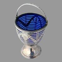 Georgian Sugar Basket Cobalt Liner Robert Hennell Sterling Silver 1794