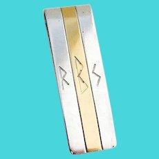 Tiffany Money Clip 18 K Gold Band Sterling Silver Mono RBS