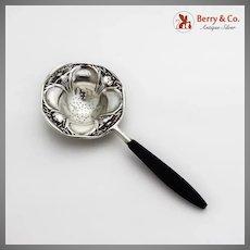 Floral Tea Strainer Wooden Handle International Sterling Silver Mono P