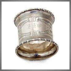 Engine Turned Napkin Ring Beaded Rims Coin Silver Mono MVF