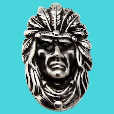 Unger Brothers Figural Indian Chief Clip Sterling Silver