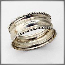 Beaded Rim Narrow Napkin Ring Webster Sterling Silver Mono Sylvia