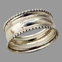 Beaded Rim Narrow Napkin Ring Webster Sterling Silver Mono Sylvia