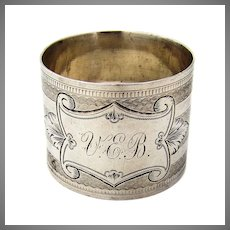 Engine Turned Engraved Napkin Ring Coin Silver Mono VEB LEC
